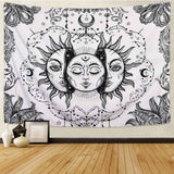 Black & White Mandala Tapestry Wall Hanging Circular - Tapestry Shopping