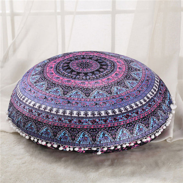 BeddingOutlet Round Mandala Floor Pillow Case Cover Indian Bohemian Cushion Cover Poufs Decorative   Boho Pillowcase 45cm 75cm - ASBrain