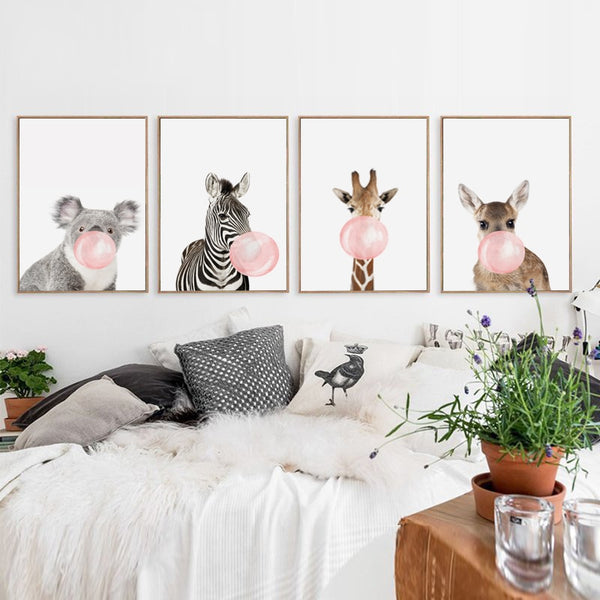 Bubble Chewing Gum Giraffe Zebra Animal Posters   Canvas Art Painting Wall Art Nursery Decorative Picture Nordic Style Kids Deco - Tapestry Shopping - Tapestries, Hippies and Wall Hangings