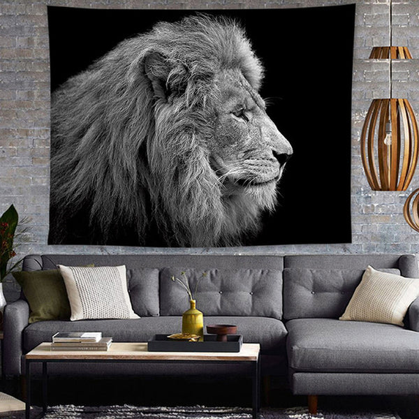 Sad Grey & White Lion Tapestry - Tapestry Shopping