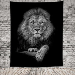 Black & White Sitting Lion Tapestry - Tapestry Shopping - Tapestries, Hippies and Wall Hangings