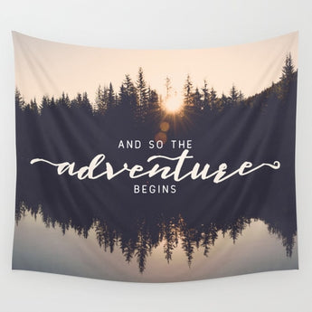 Adventure Begins Quote Tapestry - Tapestry Shopping