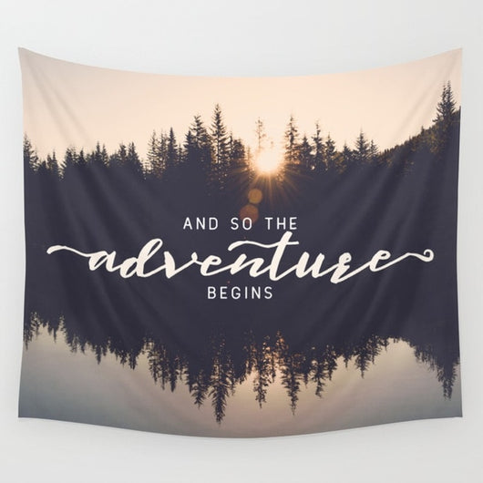 Adventure Begins Quote Tapestry - Tapestry Shopping - Tapestries, Hippies and Wall Hangings