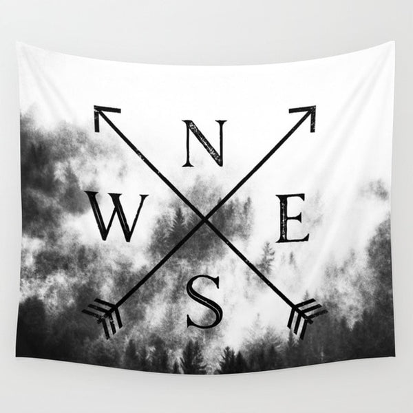 Compass Black & White Tapestry