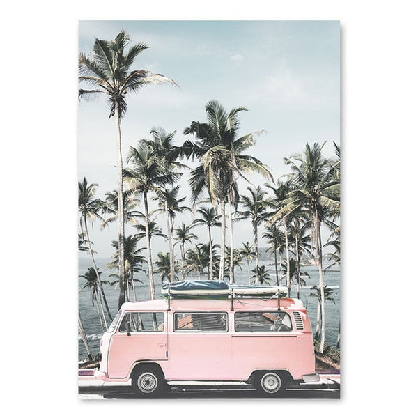 Ocean Landscape Canvas Poster Nordic Style Beach Pink Bus Wall Art Print Painting Decoration Picture Scandinavian Home Decor - Tapestry Shopping - Tapestries, Hippies and Wall Hangings