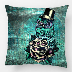 Teal Tattoo Owl  Pillow - Tapestry Shopping - Tapestries, Hippies and Wall Hangings