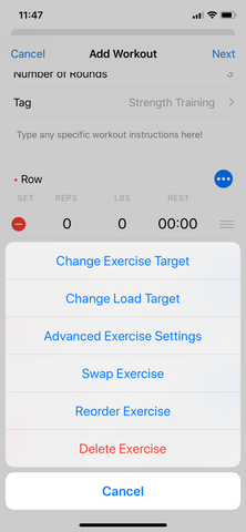 exercise menu