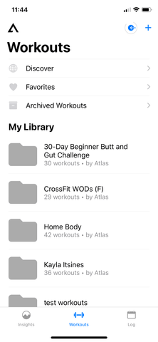 workouts screen