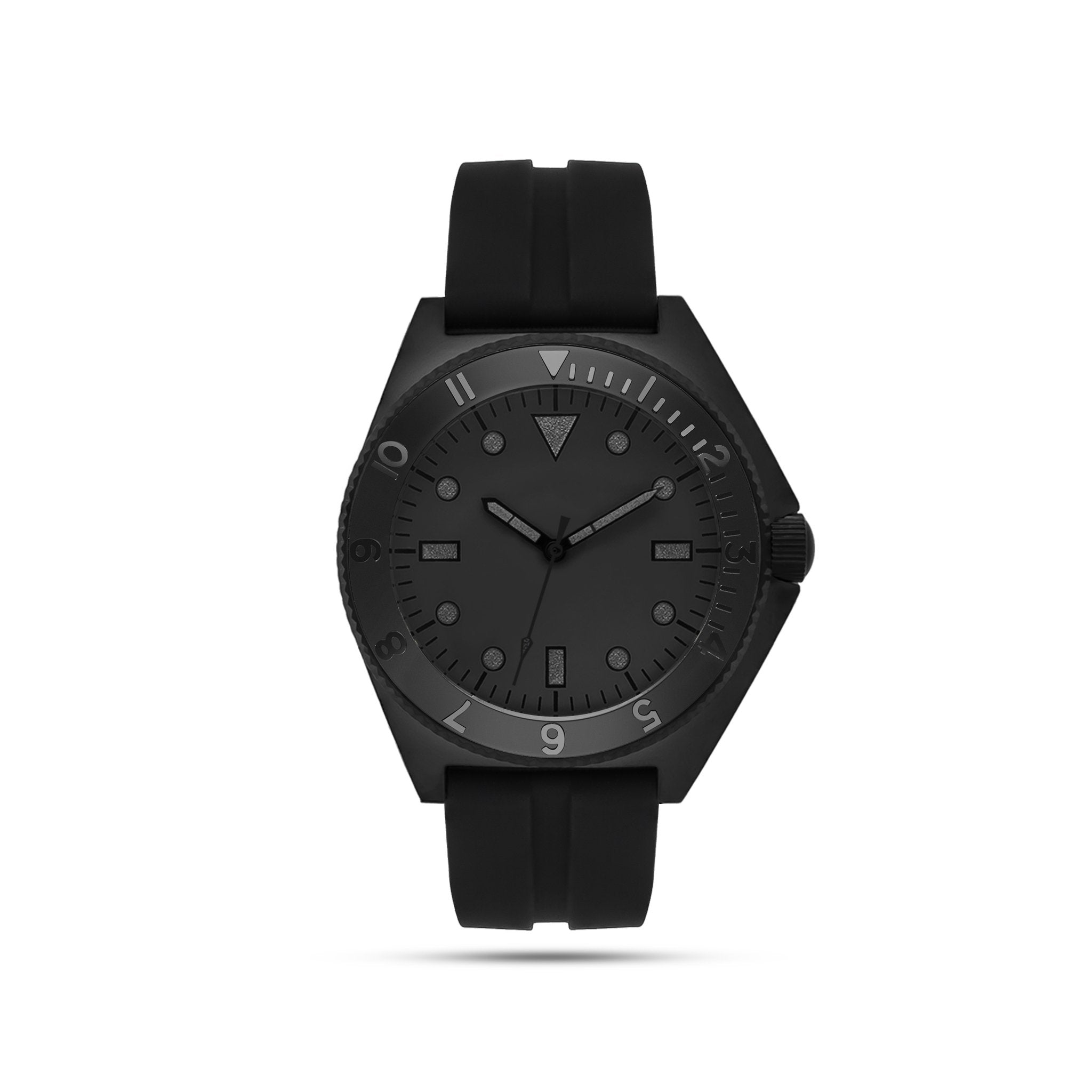 black mens watch with black face and accents