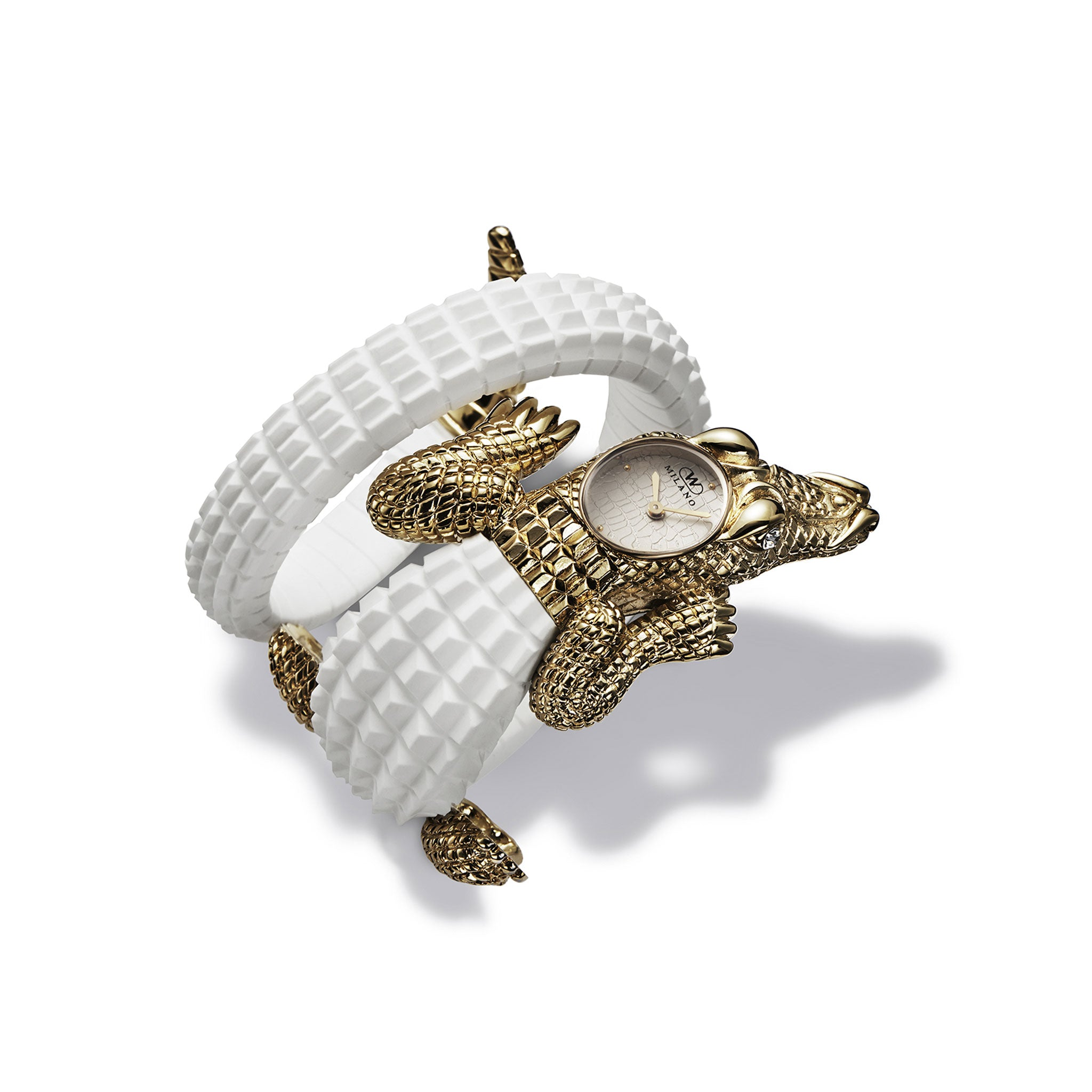 yellow gold and white women's crocodile watch