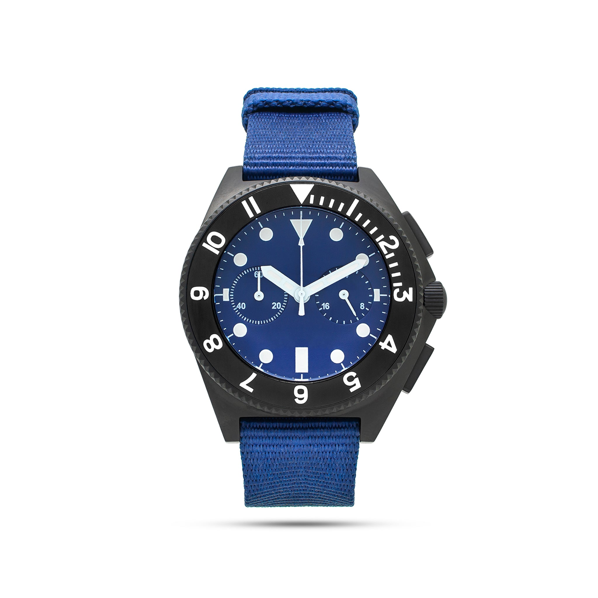 mens black and blue watch front view