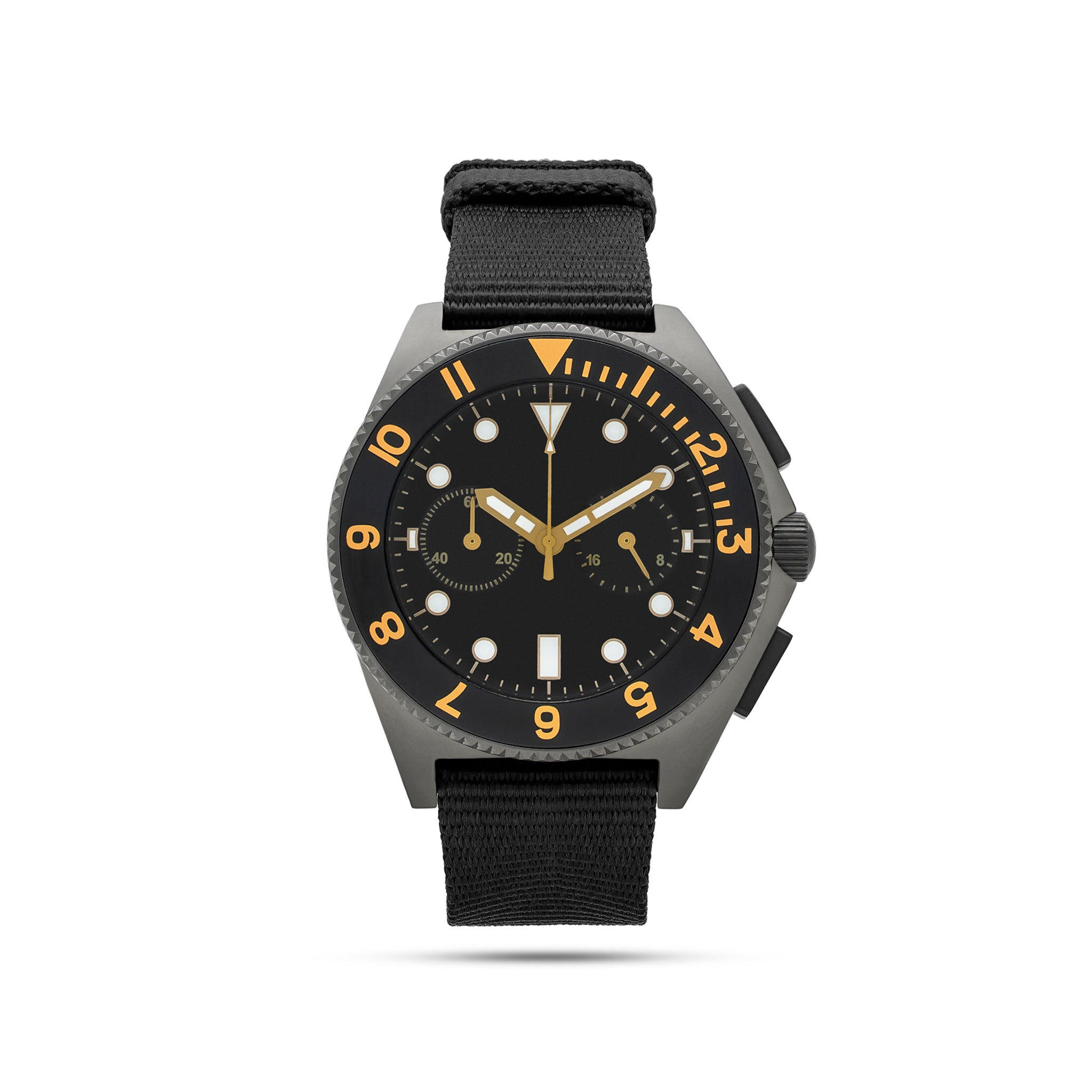 mens black and grey watch with yellow numbers