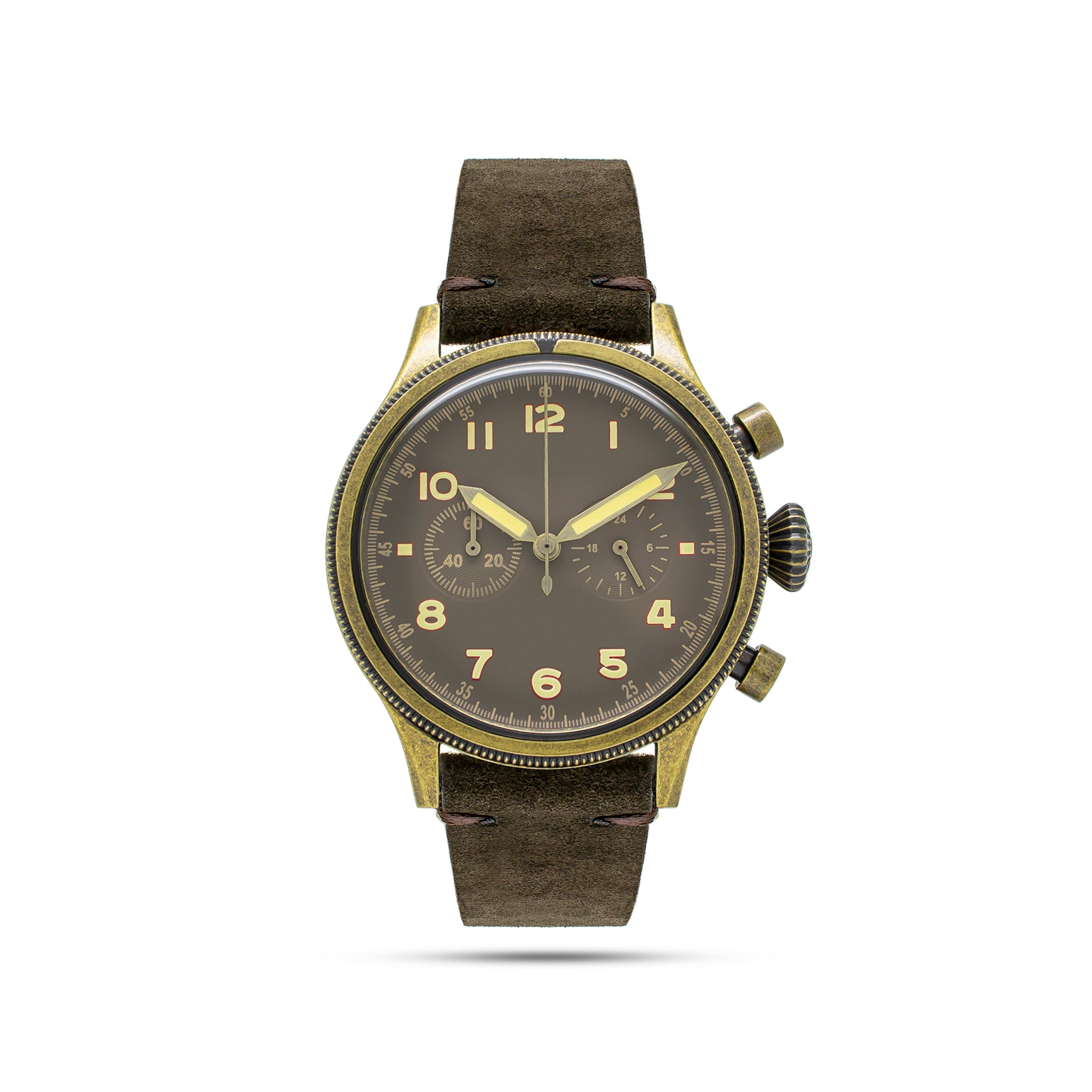 bronze unisex watch with brown band
