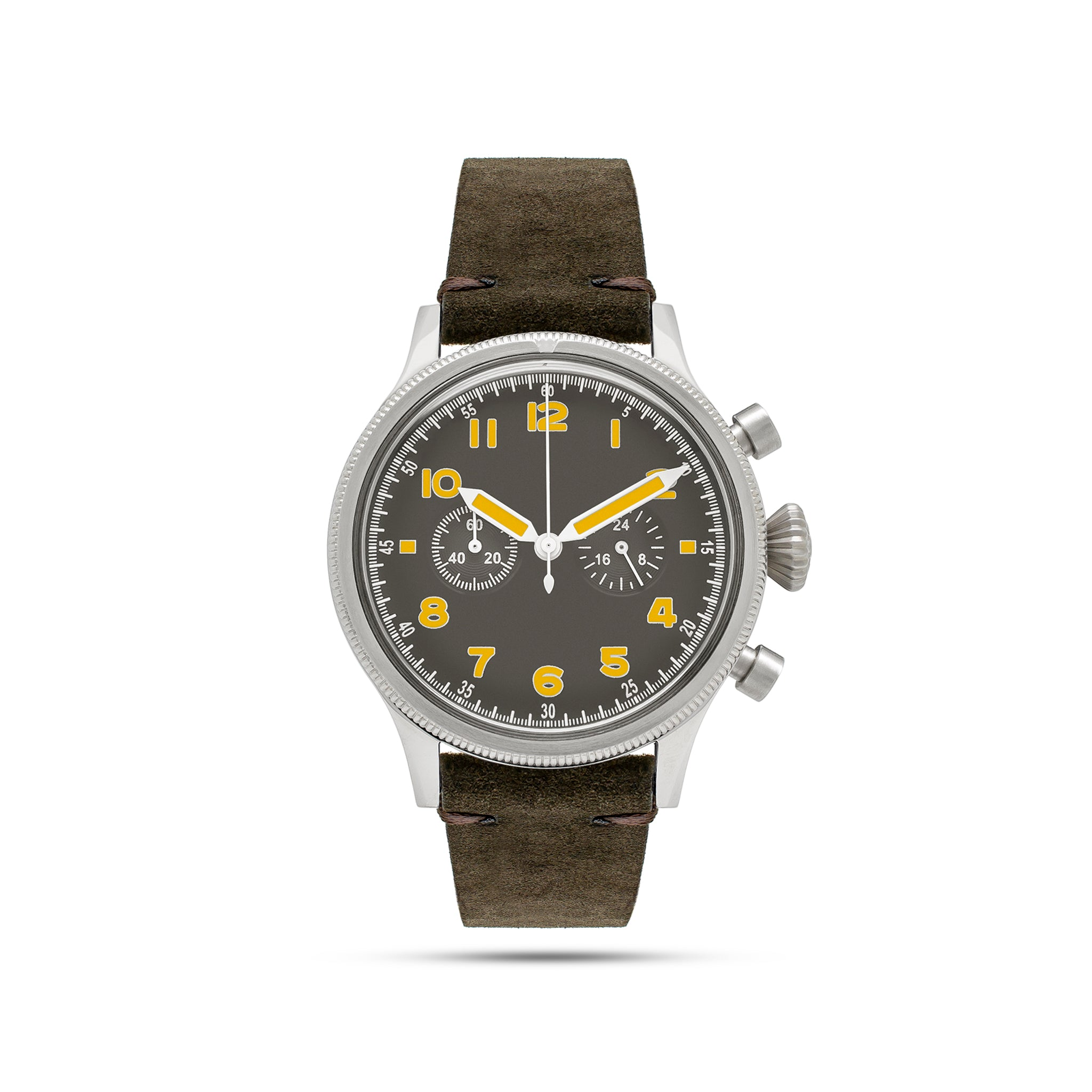unisex grey watch with yellow numbers and brown band