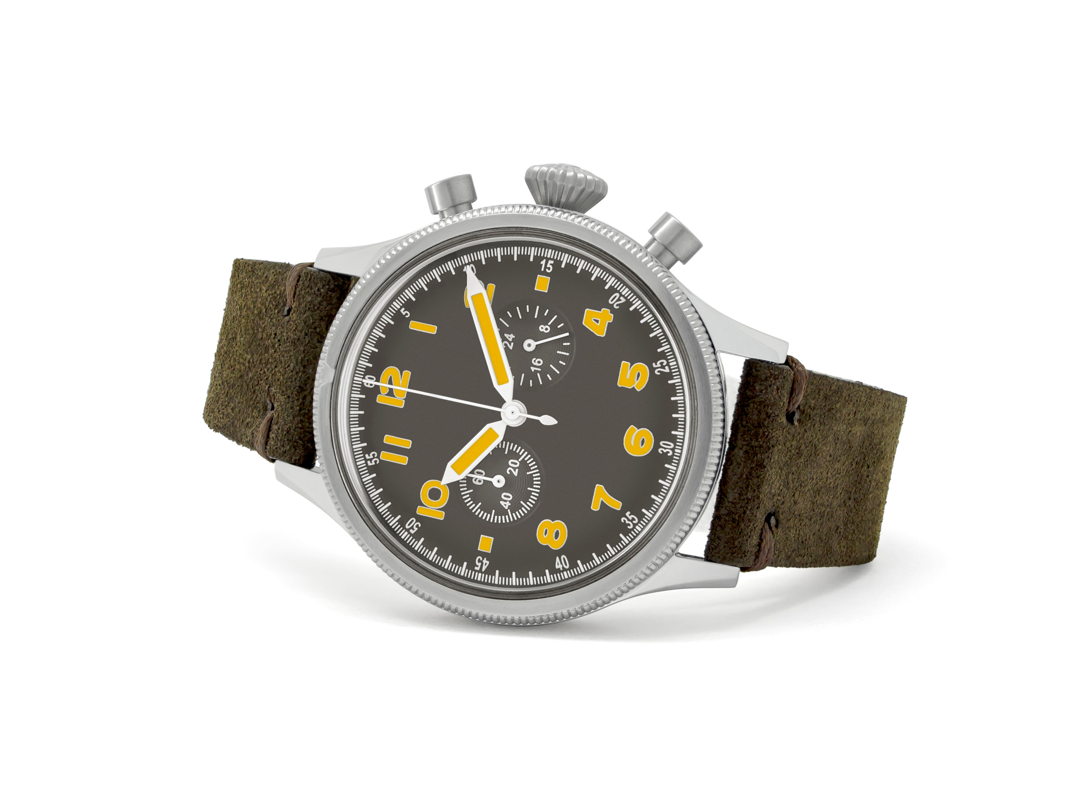 unisex grey and brown watch on its side