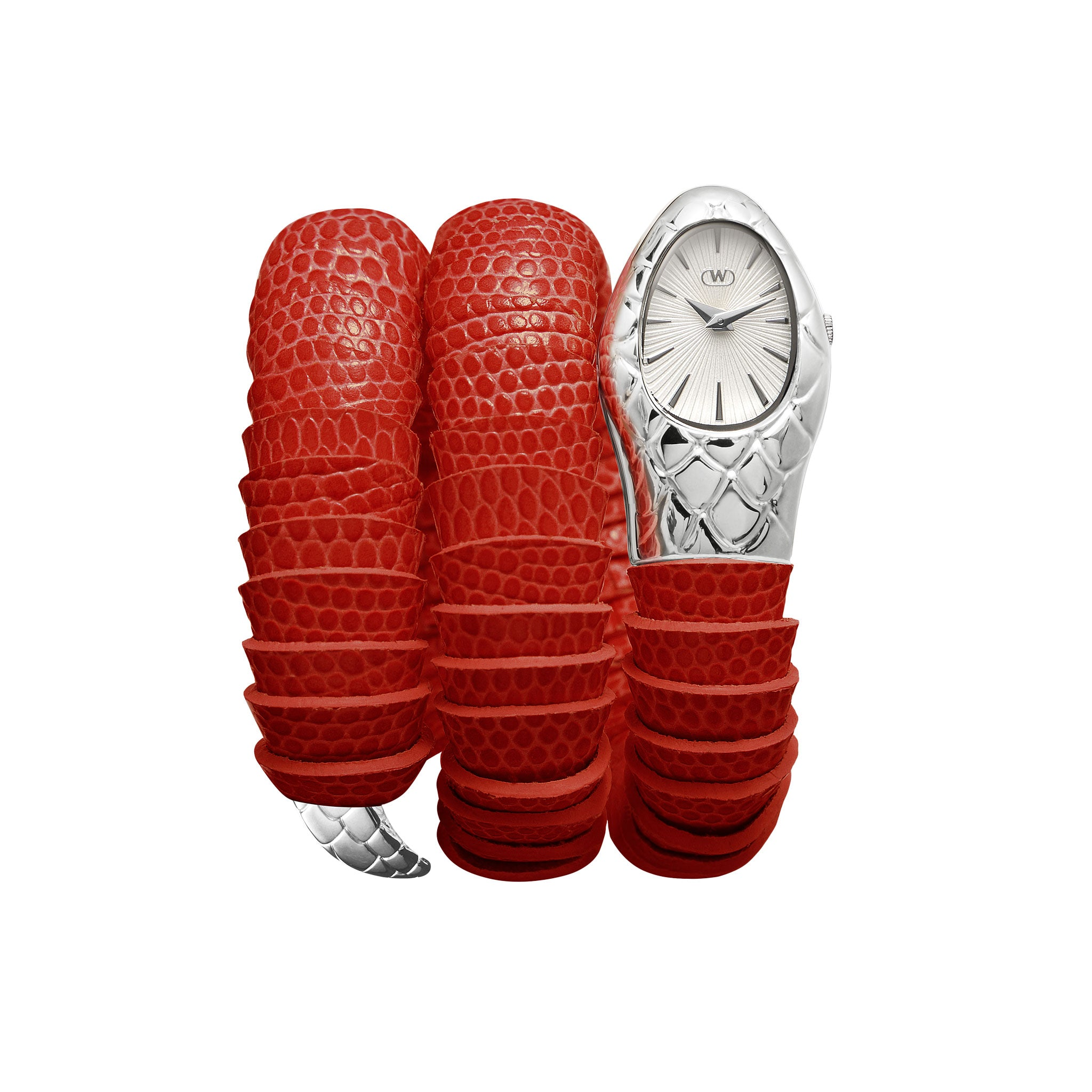 women's silver serpent watch with red lizard printed band