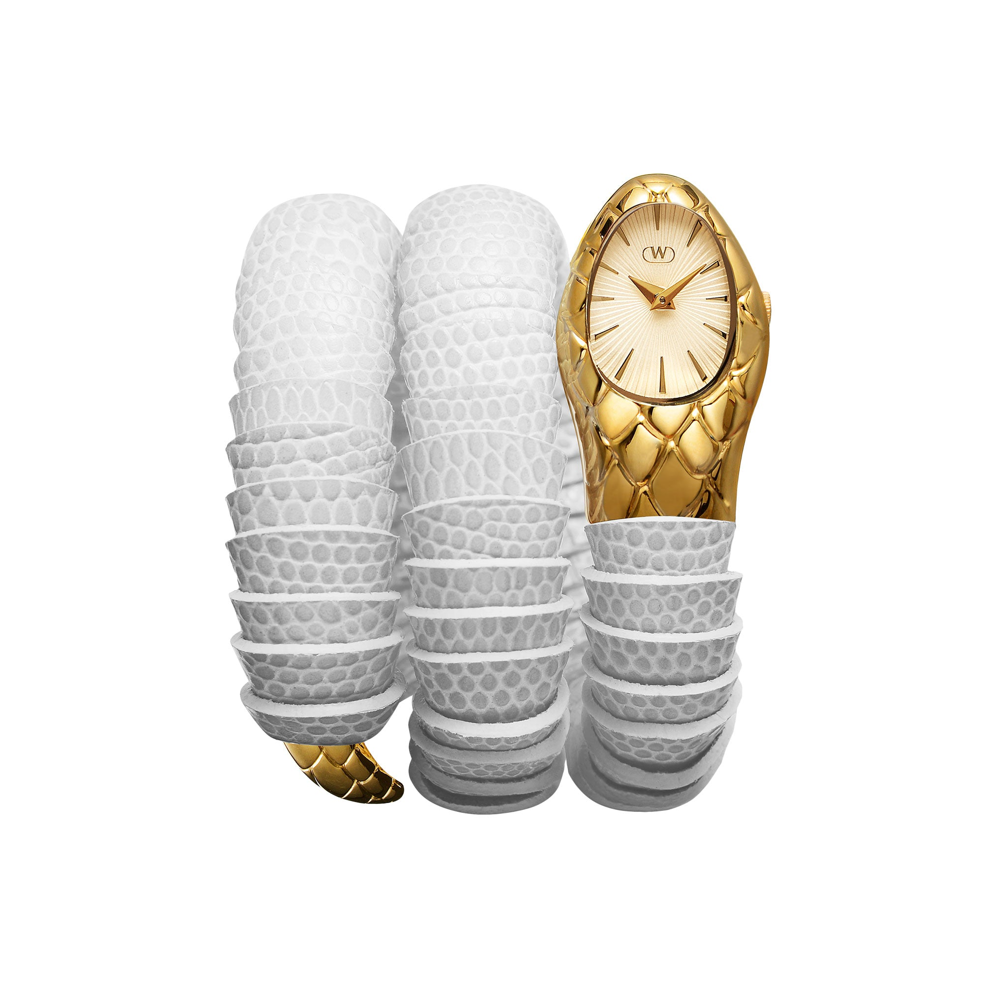 womens gold and white twisting serpent watch