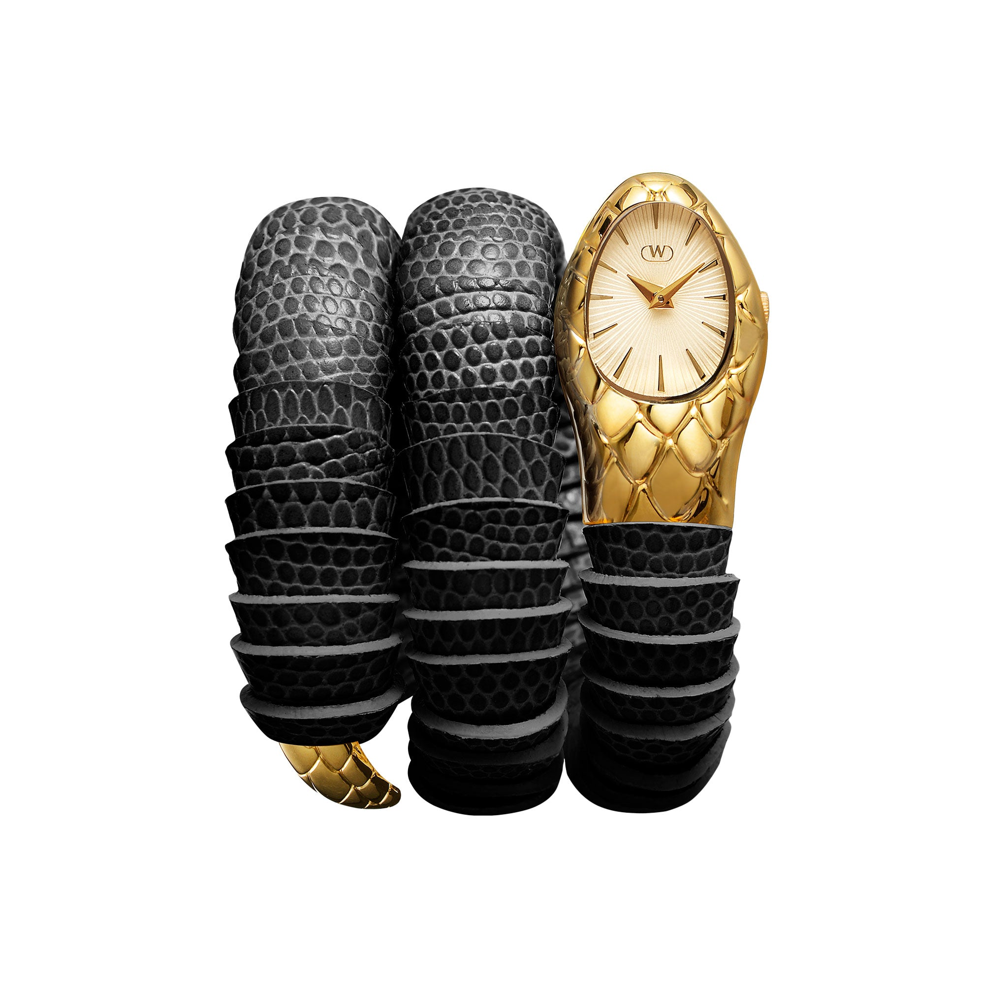 womens black and gold serpent watch