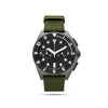 men's grey watch with green band