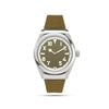 mens green and silver watch half roman numerals