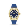 mens gold and blue watch half roman numerals