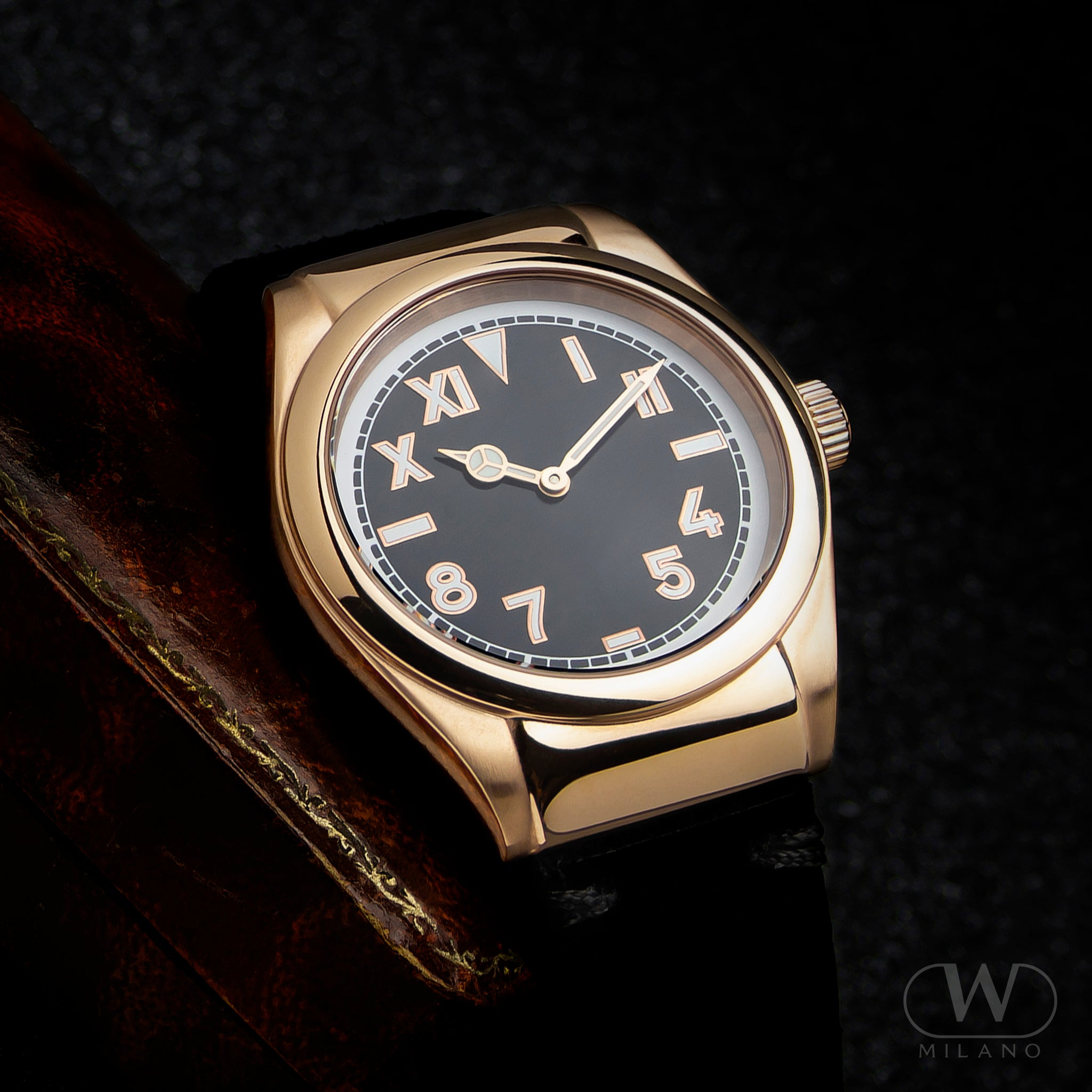 display of mens gold and black watch with Wintex Milano logo