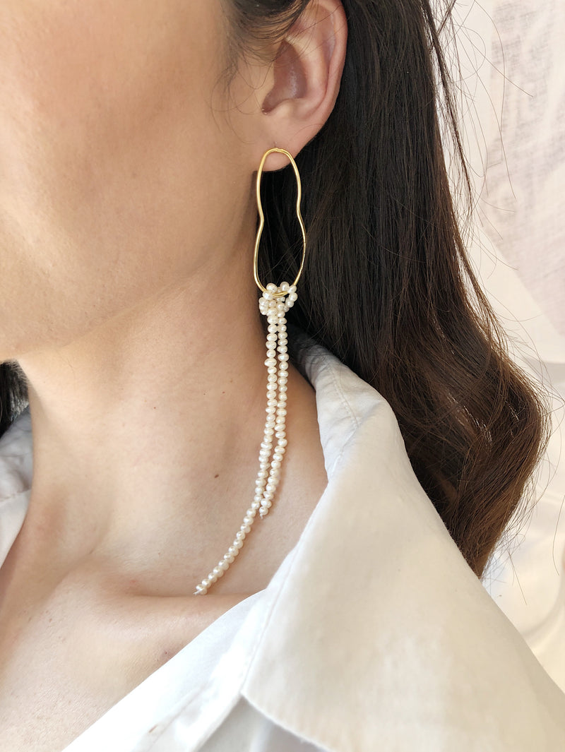 Aphrodite Seed Pearl Strand Earrings