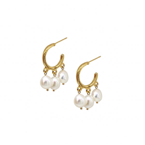 Gold Pearl Earrings | 24K Gold Asta Earrings
