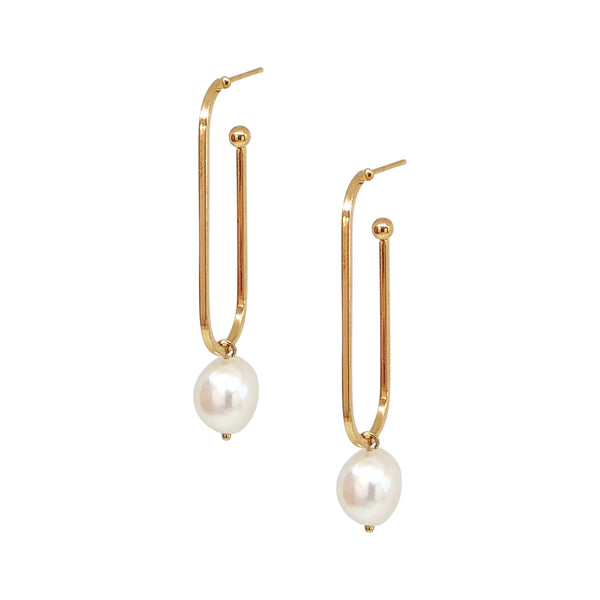 Pearl Hoop Earrings | 18K Gold Adonis Earrings
