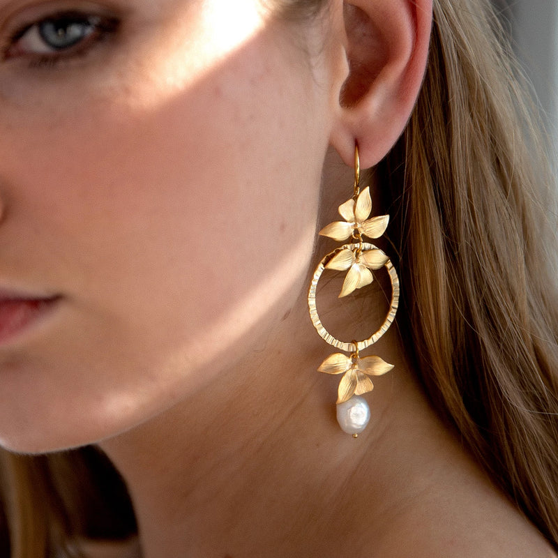 Statement Earrings | 24K Gold Botanica and Pearl Ceres Earrings