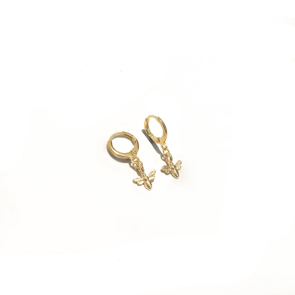 Gold Bee Earrings | 18K Dynasty Bee Hoops