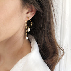 Drop Earrings | 24K Gold and Pearl Wilson Front-To-Back Earrings