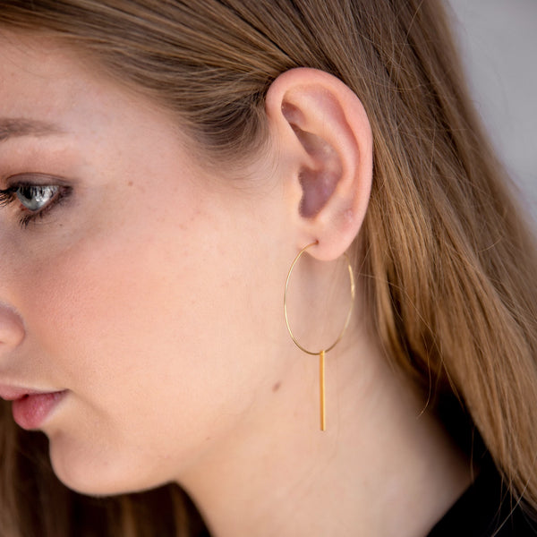 Veda Ultra-Fine Gold Hoop Earrings - Medium