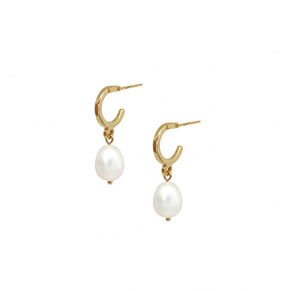 Small Hoop Earrings | 24K Gold and Pearl Axel Earrings