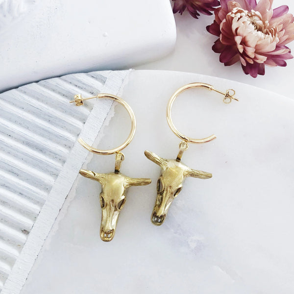 Gold Hoops | Kama Cow Skull Hoop Earrings