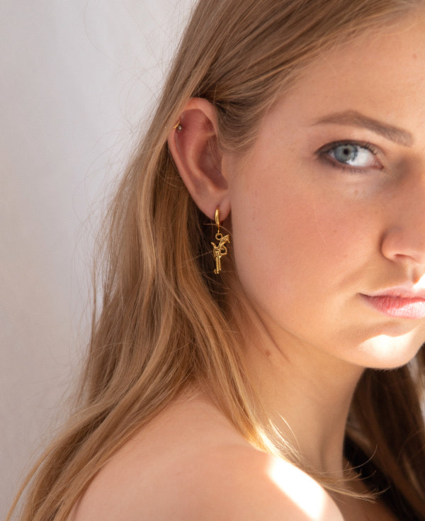 Gold Hoops | 24K Gold Revolver Mini Hoop Earrings