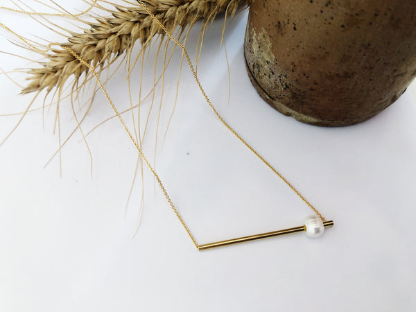 Yves Pearl and Gold Minimalist Necklace