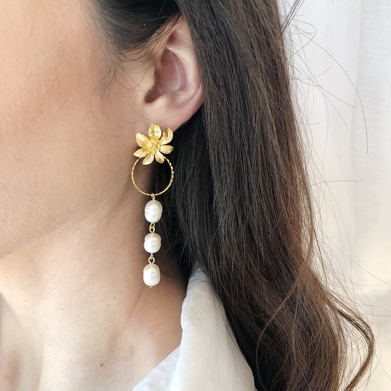 Adie Floral Gold and Pearl Earrings