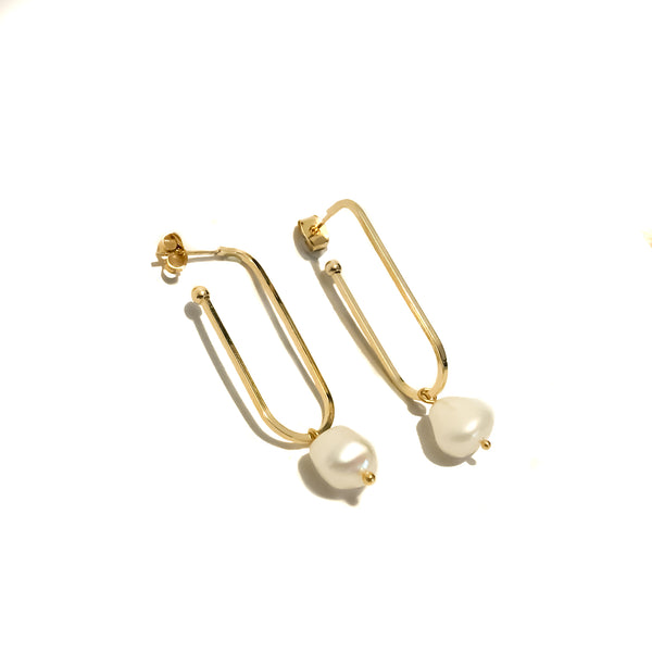 Pearl Hoop Earrings | 18K Gold Adonis Hoops