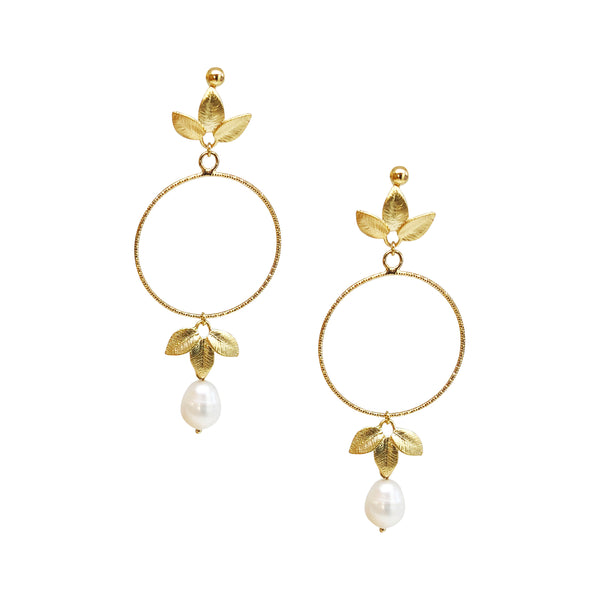 Drop Earrings | 18K Gold and Pearl Alessandra Earrings