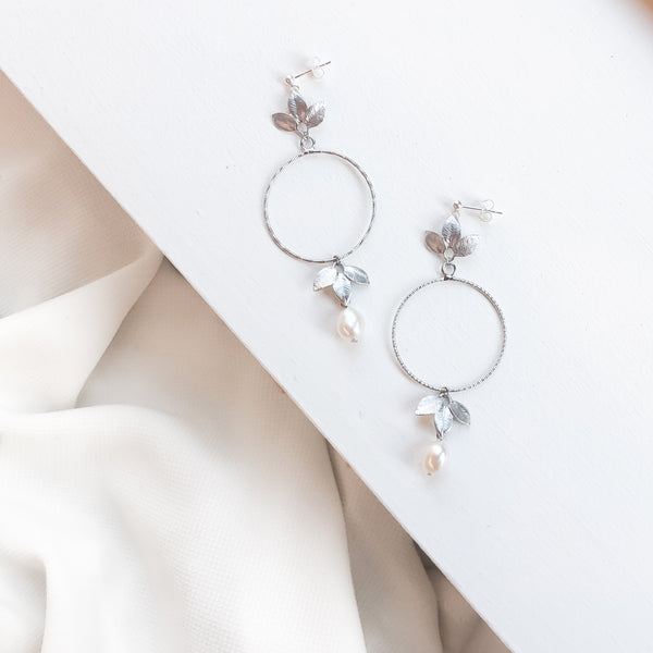 Silver Pearl Earrings | Alessandra Earrings