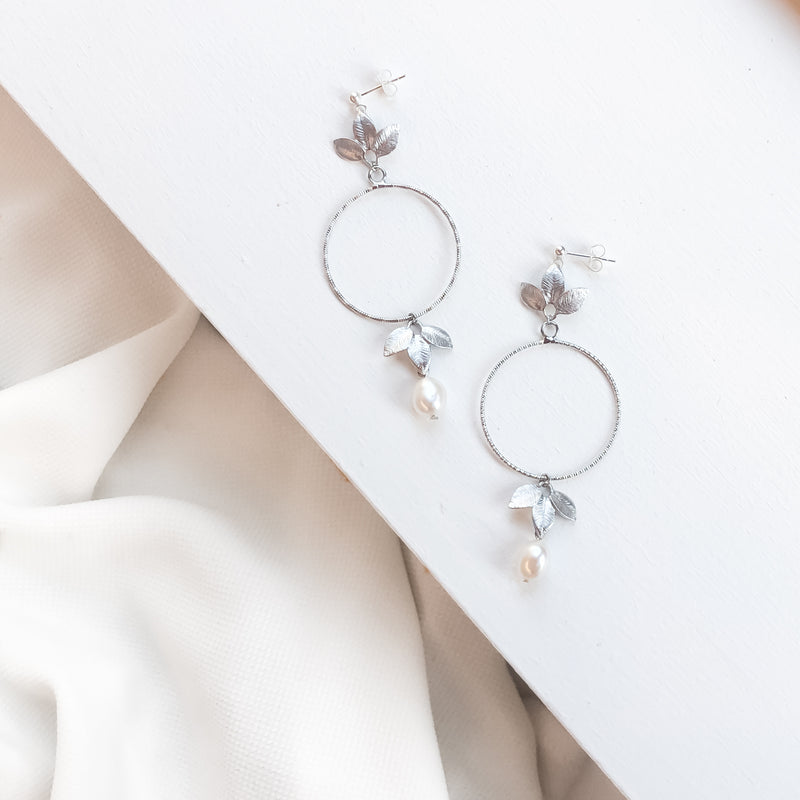Alessandra Pearl Botanical Earrings in Silver