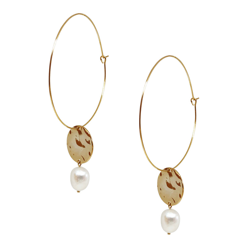 Alexis Gold and Pearl Hoops