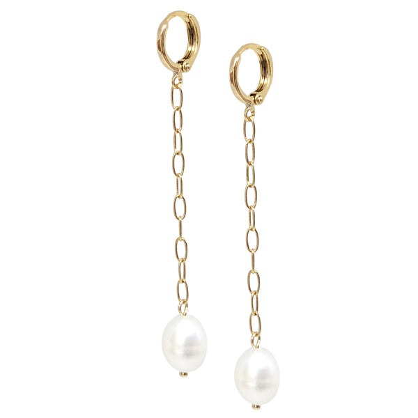 Drop Earrings | 18K Gold and Pearl York Chain Earrings