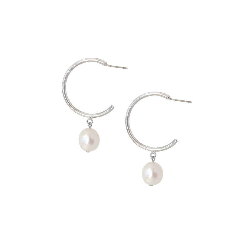 Alissa Silver Pearl Hoop Earrings