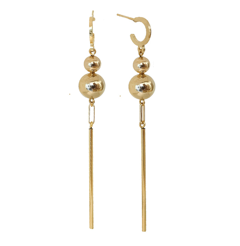 Gold Bar Earrings | Ares 24K Gold Earrings