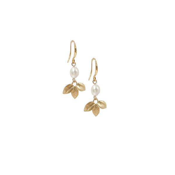 Pearl Drop Earrings | Arianna 18k Gold Freshwater Pearl Earrings