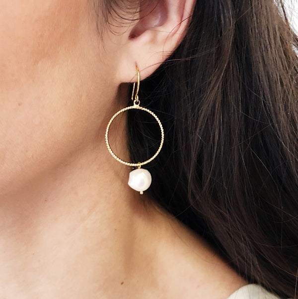 Avery Gold Pearl Earrings