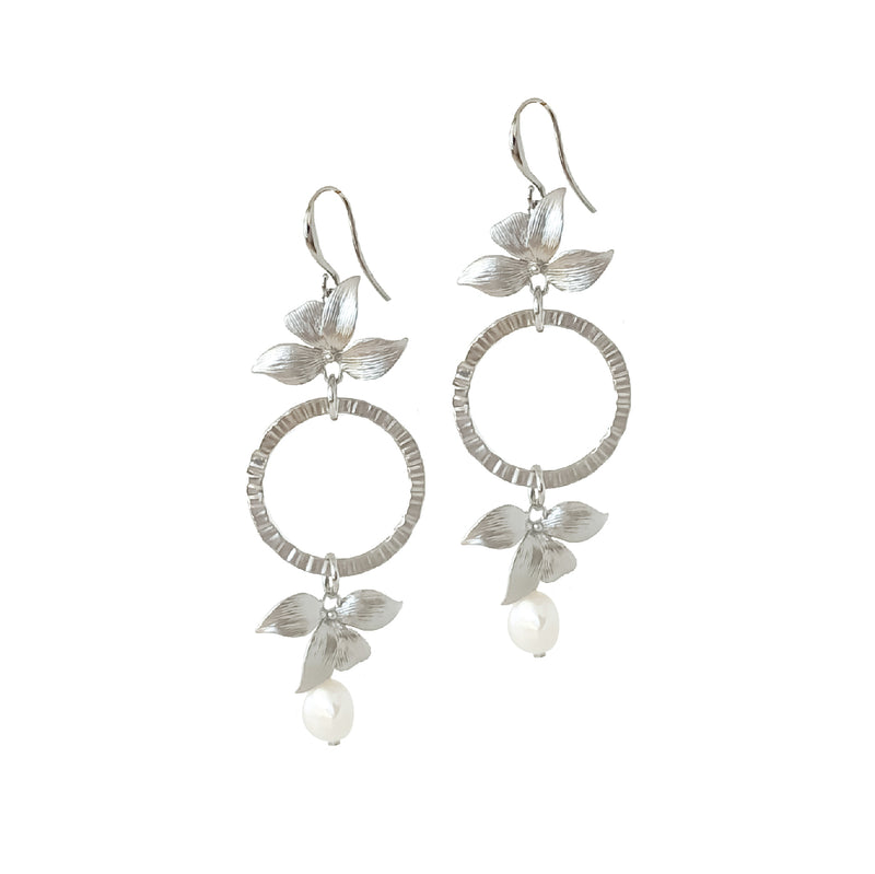 Ceres Silver Pearl and Botanica Earrings