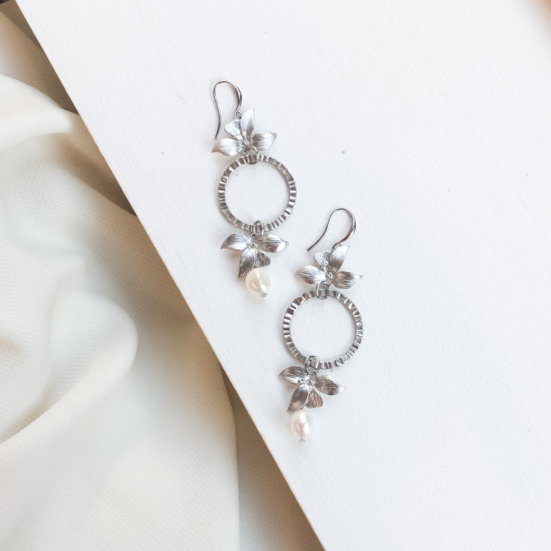 Statement Earrings | Silver Botanica and Pearl Ceres Earrings